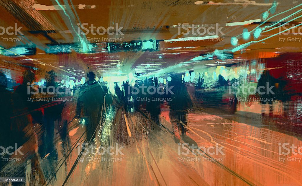 motion blurred people walking in the terminal vector art illustration