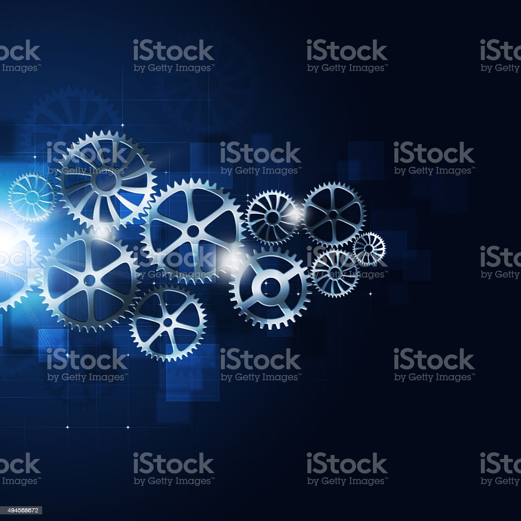 Motion Gears Abstract Blue Background vector art illustration