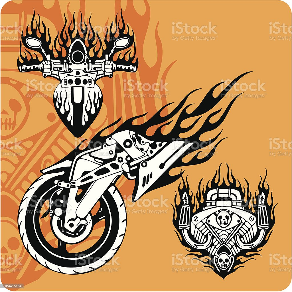 Motorcycle compositions with use of a flame. royalty-free stock vector art