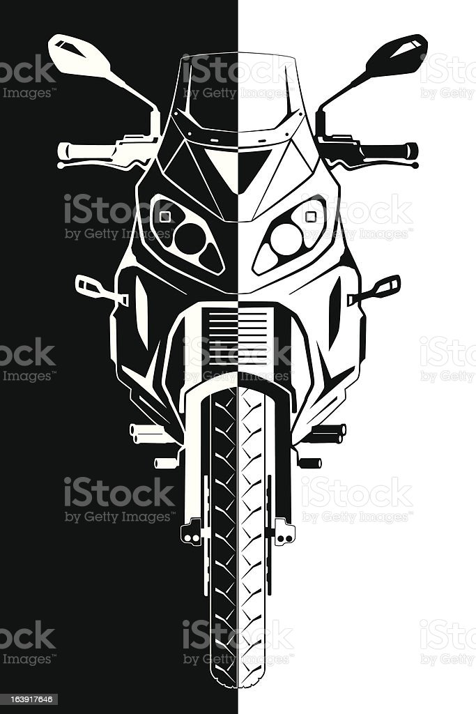 Motorcycle Front View vector art illustration