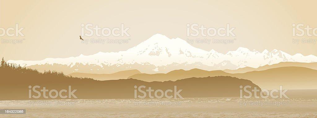 Mount Baker, Washington State, panoramic in sepia. royalty-free stock vector art
