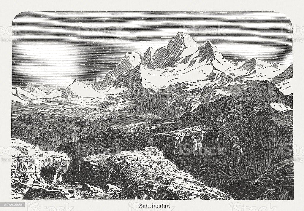 Mount Everest (falsely Gaurishankar), wood engraving, published in 1882 vector art illustration