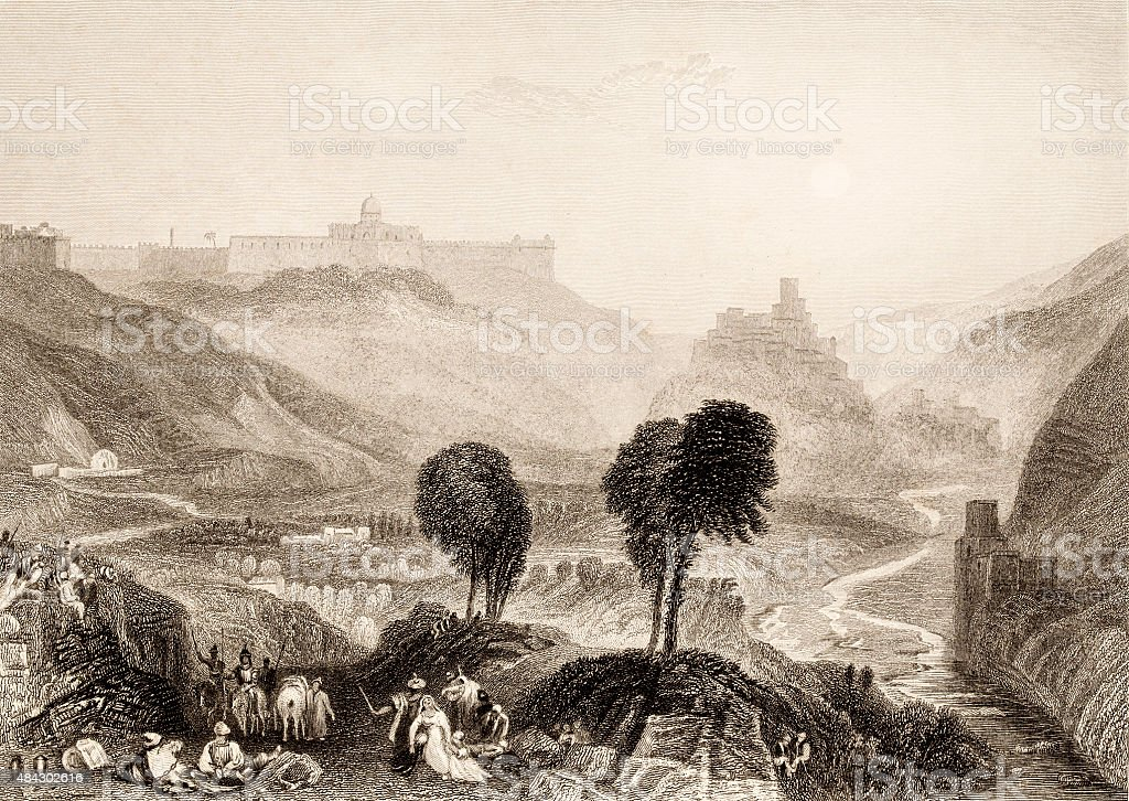 Mount Moriah, 19 century illustration of bibleic places vector art illustration