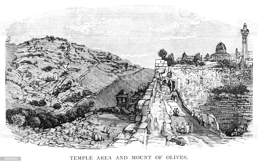 Mount of Olives and Temple area, Jerusalem vector art illustration