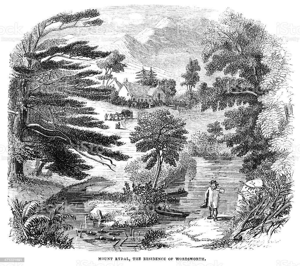 Mount Rydal, Wordsworth's home - Victorian illustration vector art illustration