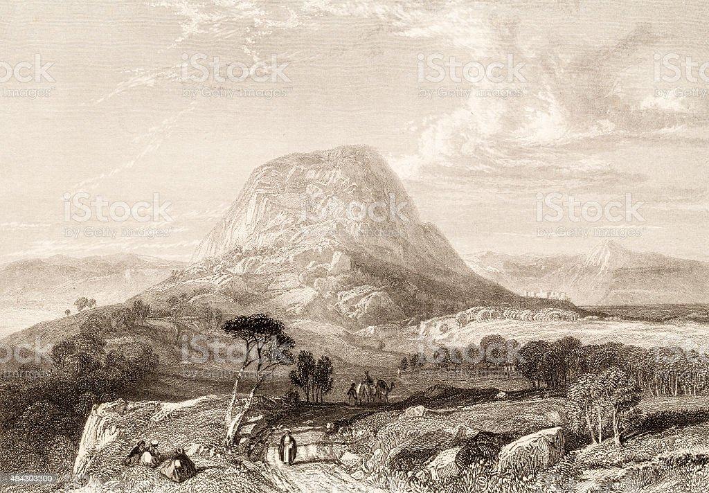 Mount Tabor, 19 century illustration of bibleic places vector art illustration
