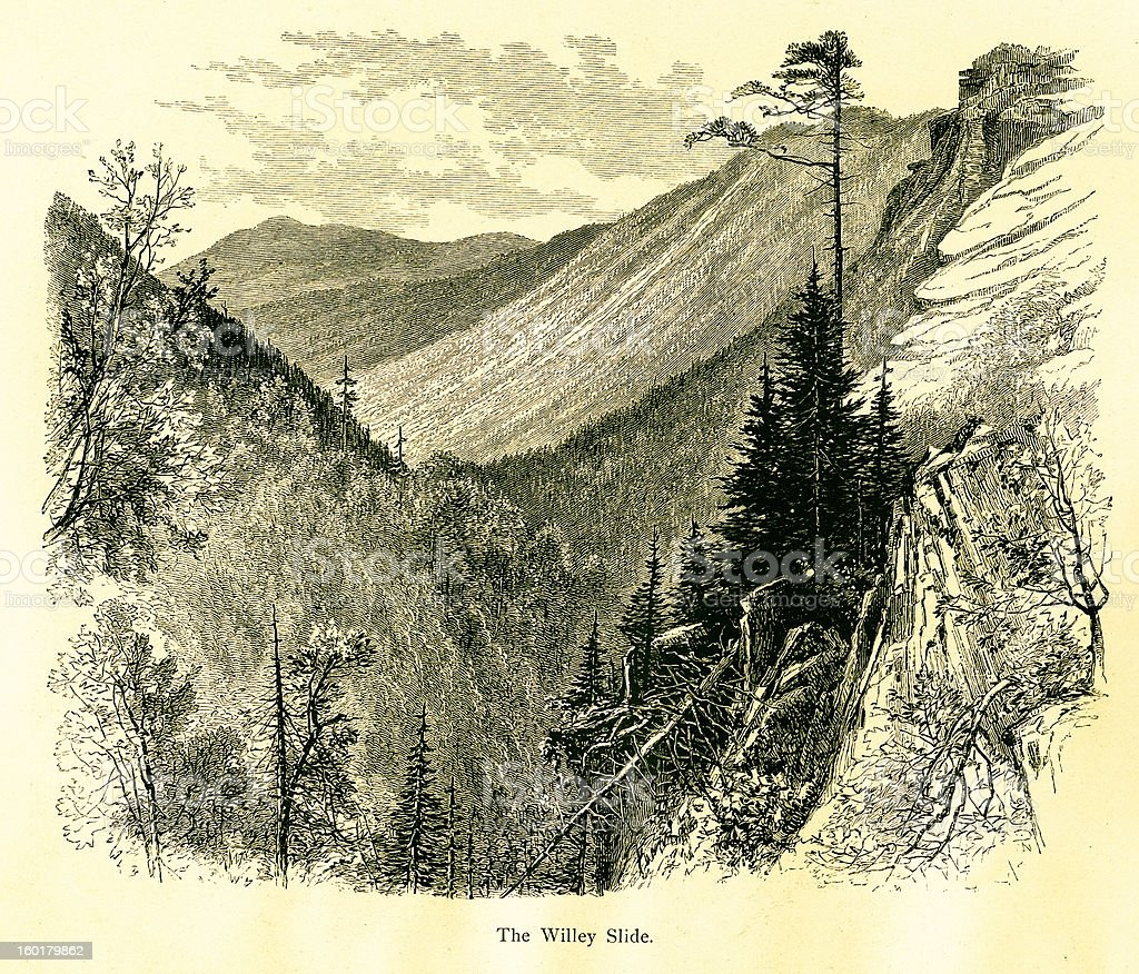 Mount Willey, Crawford Notch, New Hampshire vector art illustration