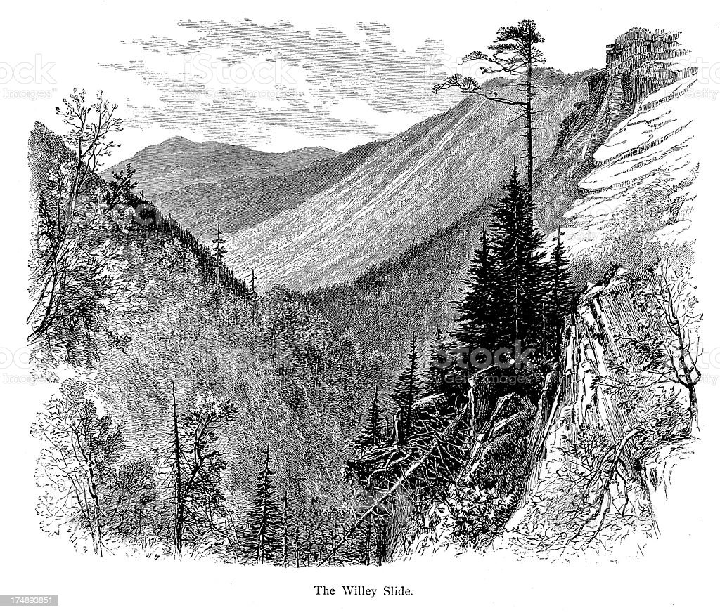 Mount Willey, Crawford Notch, New Hampshire royalty-free stock vector art