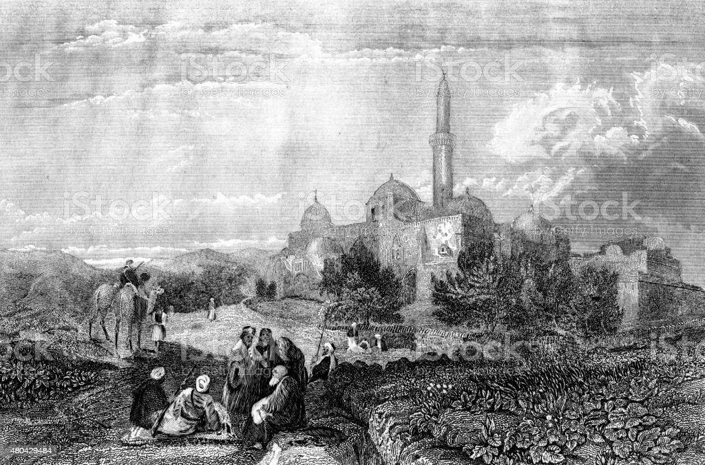 Mount Zion In Jerusalem vector art illustration