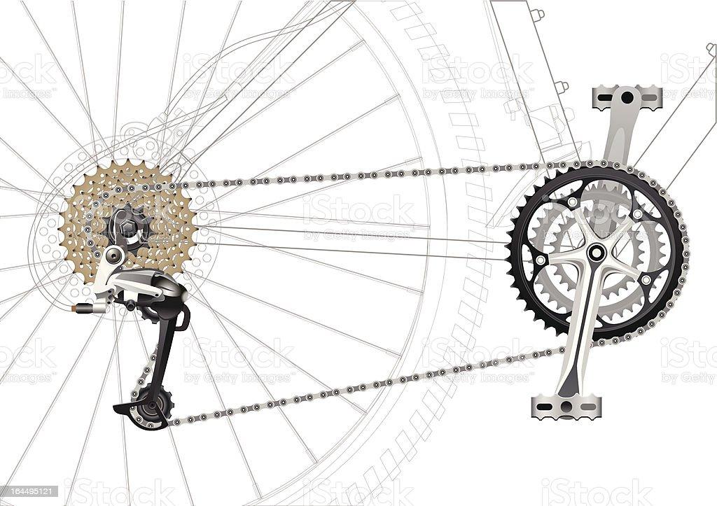 Mountain Bike Chain Drive royalty-free stock vector art