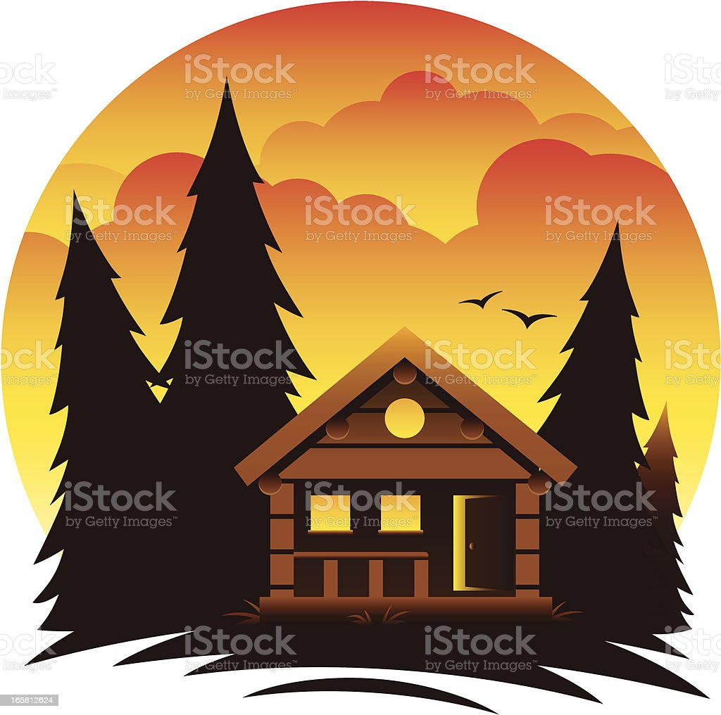 Mountain Cabin Scene vector art illustration