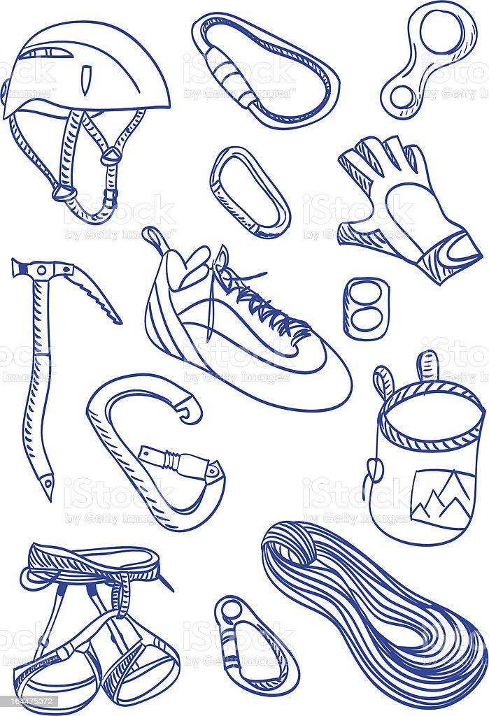 Mountain Climbing - doodle style illustration royalty-free stock vector art