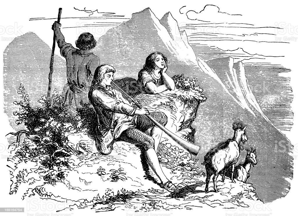 Mountain goat shepherd vector art illustration