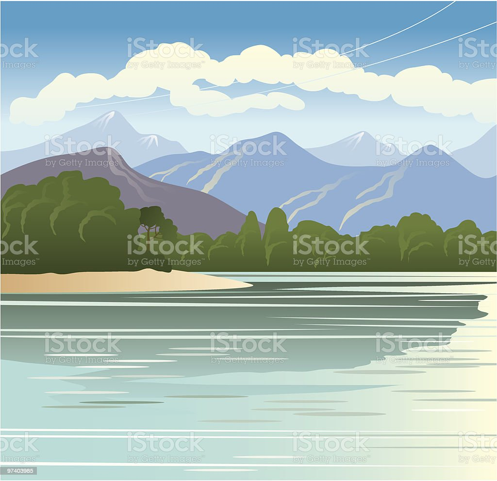 Mountain lake royalty-free stock vector art
