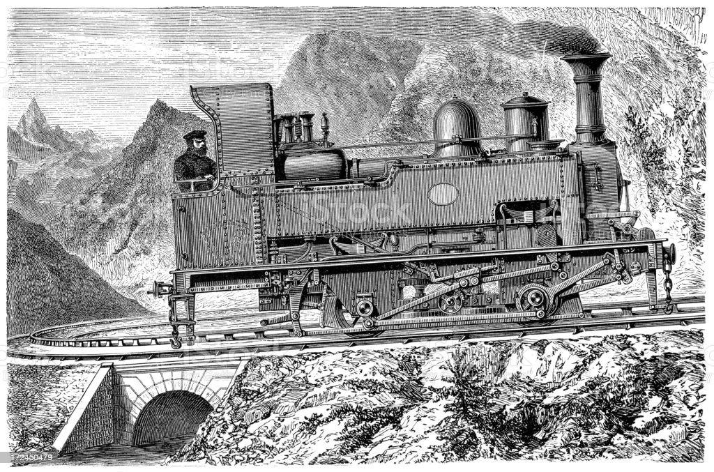 Mountain Locomotive royalty-free stock vector art