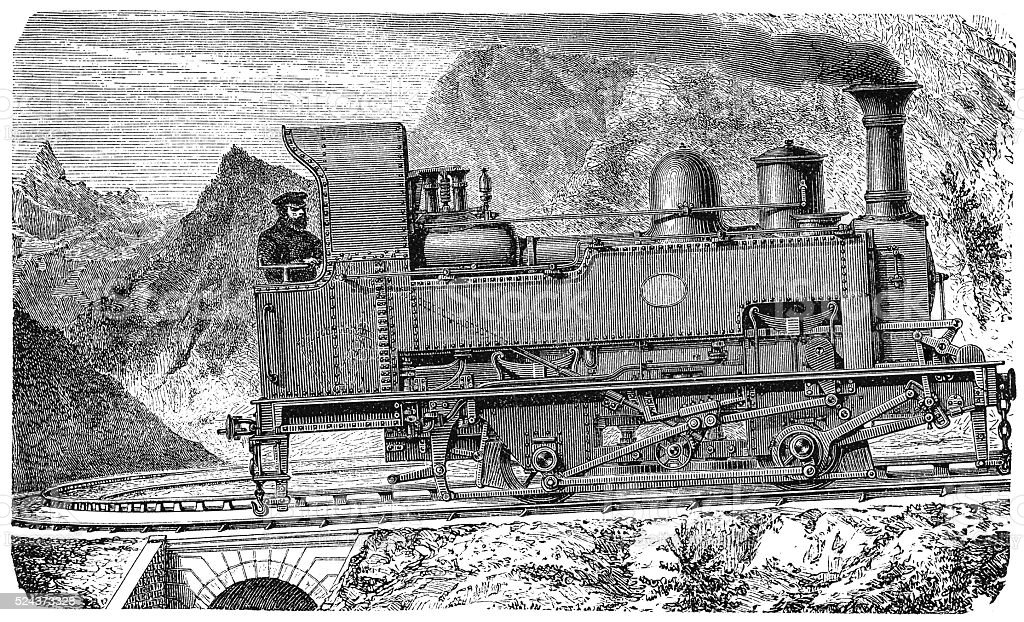Mountain locomotive vector art illustration