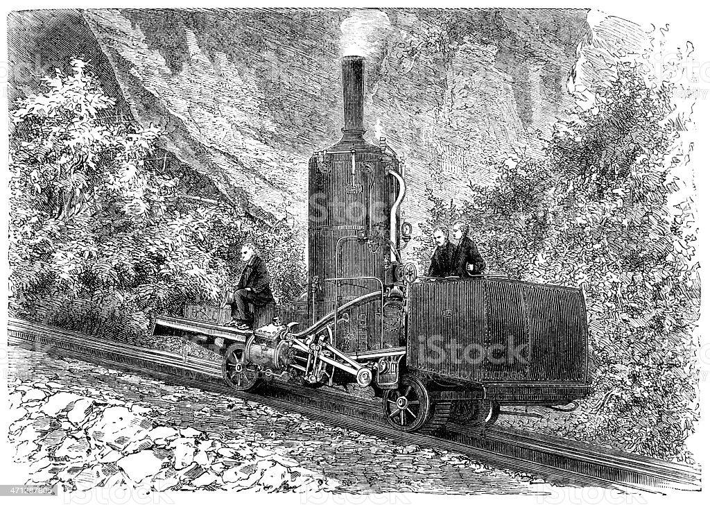 Mountain locomotive on the Rigi Railway, Switzerland royalty-free stock vector art