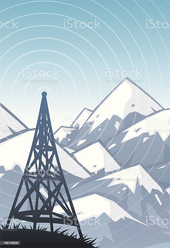 mountain radio vector art illustration