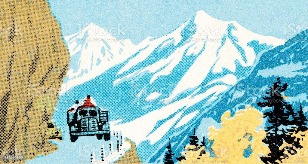 Mountain Scene vector art illustration