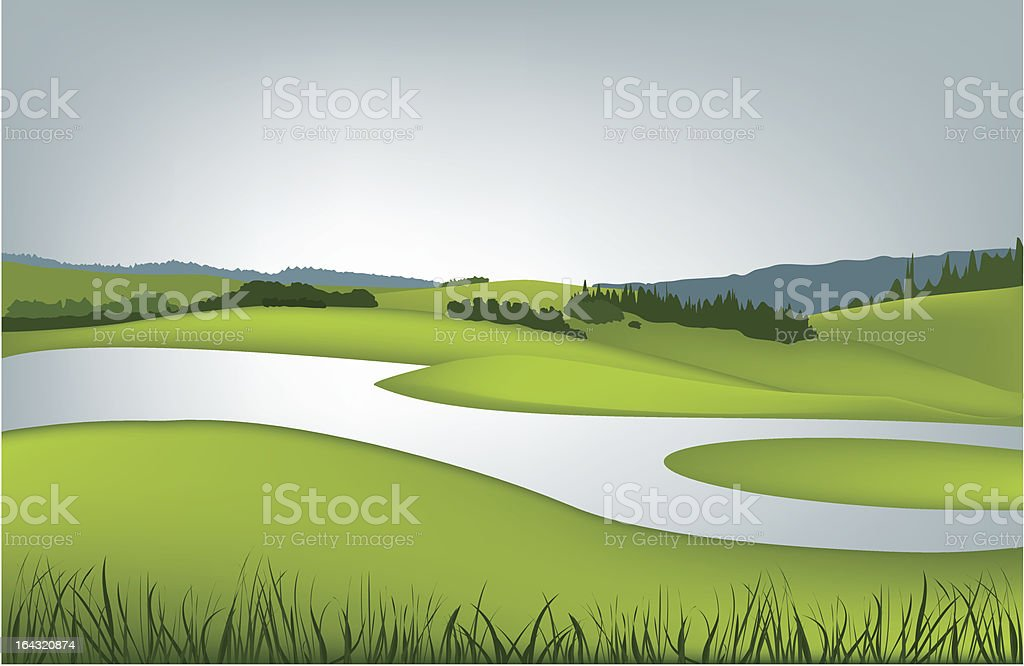 Mountain spring landscape royalty-free stock vector art