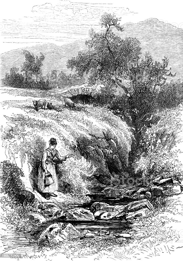 Mountain stream with woman collecting water vector art illustration