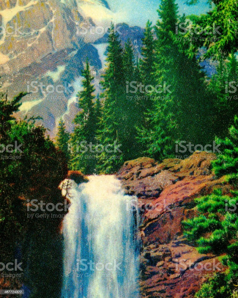 Mountain Waterfall vector art illustration