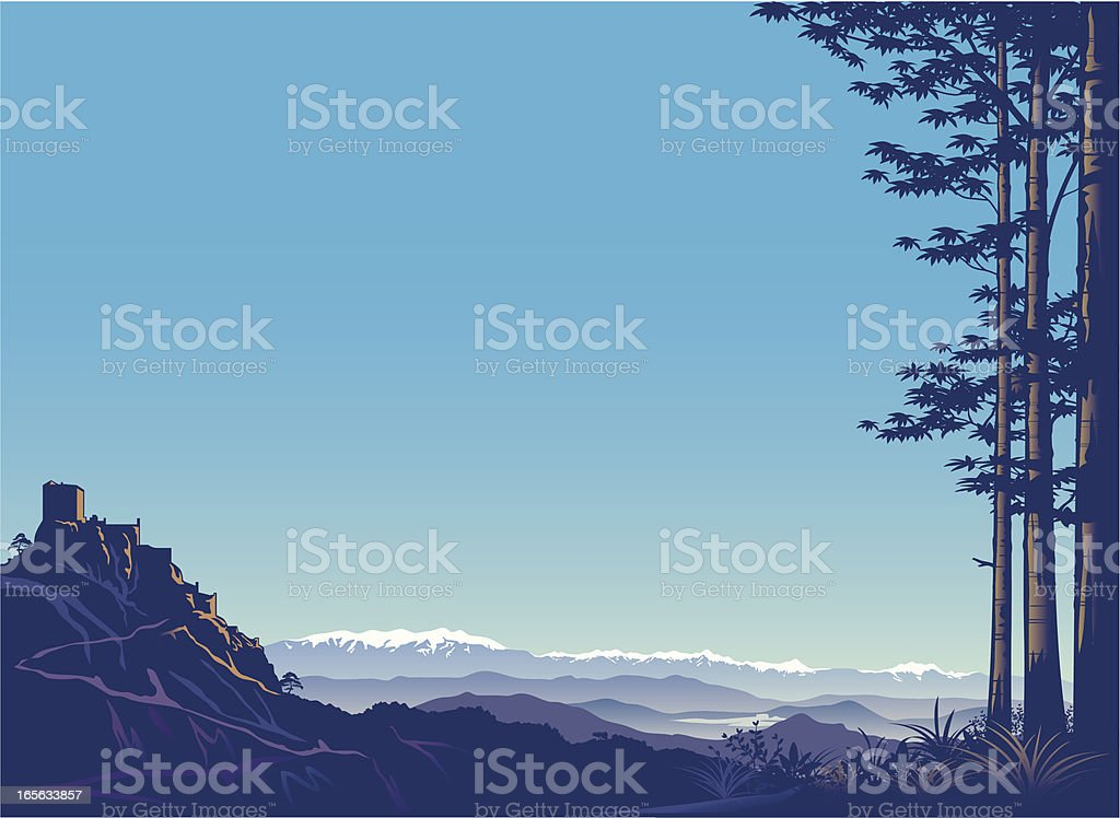Mountains and castle. royalty-free stock vector art