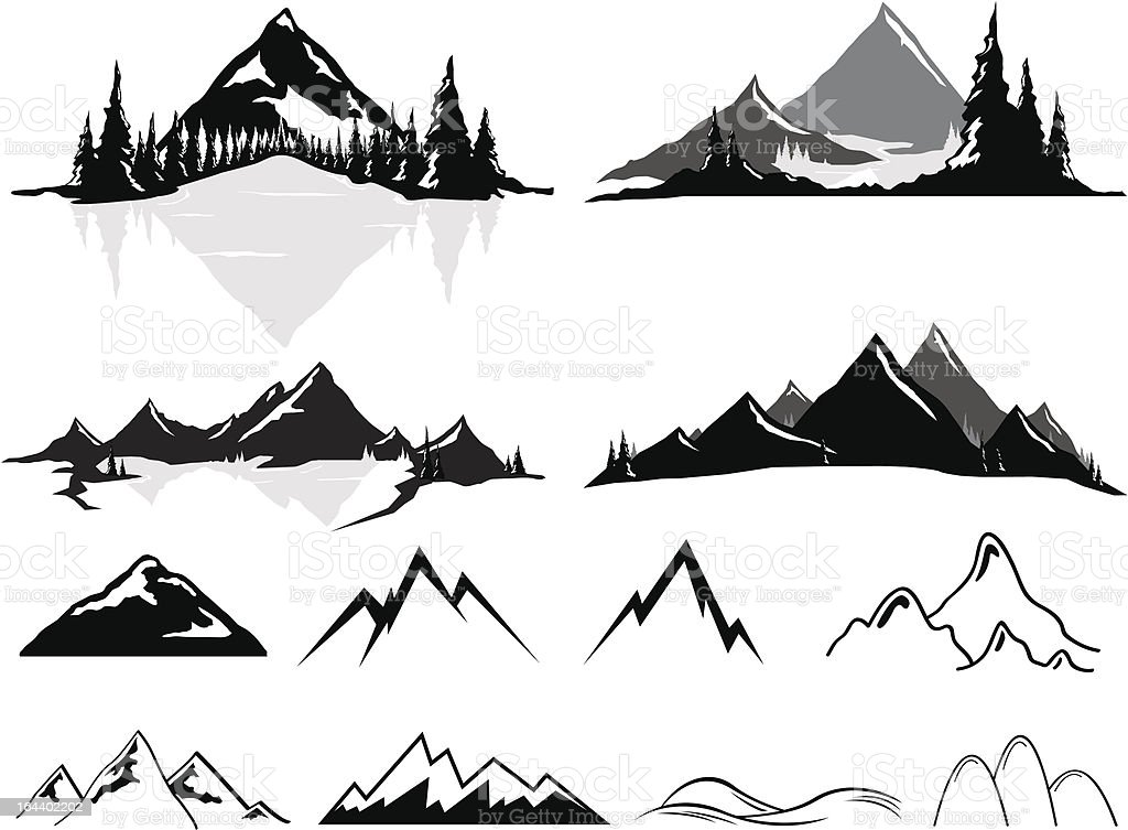 Mountains and Hills, Realistic or Stylized vector art illustration