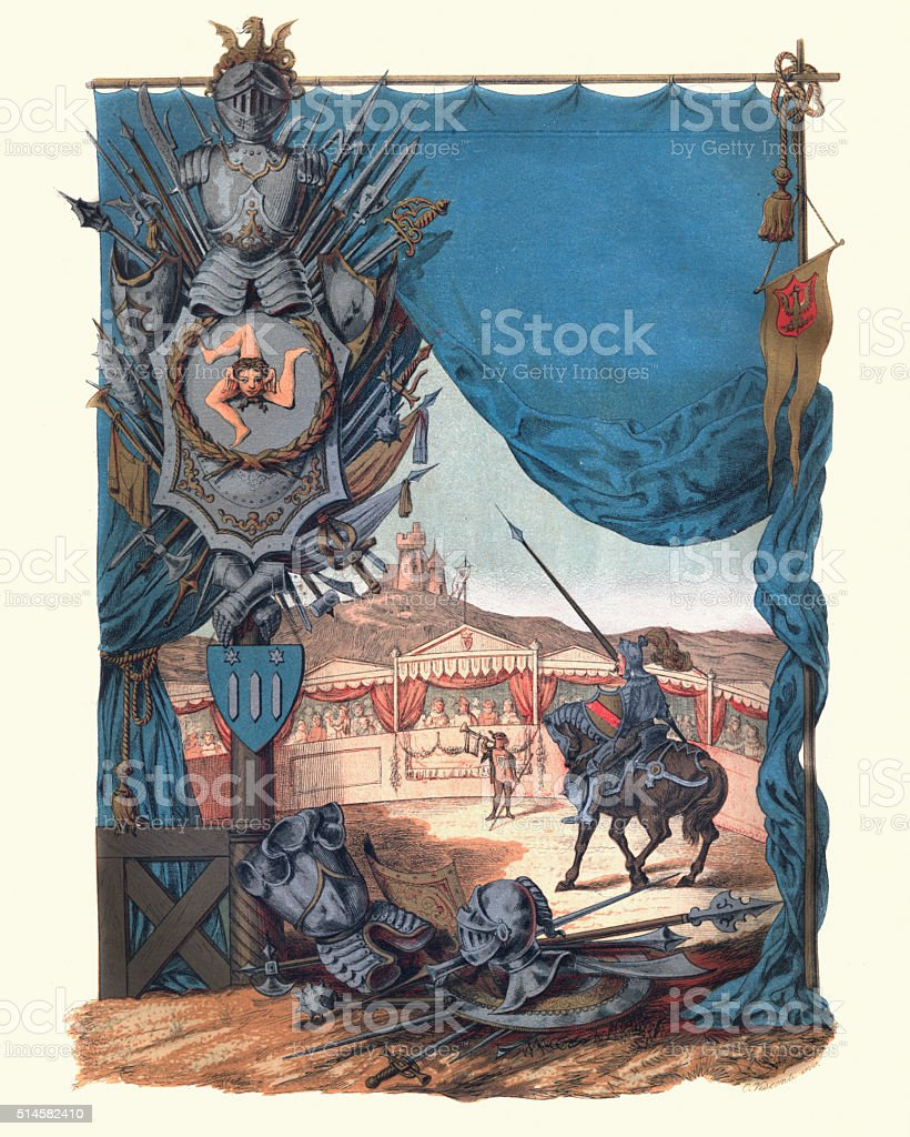 Mounted knight with lance in medieval tourney vector art illustration