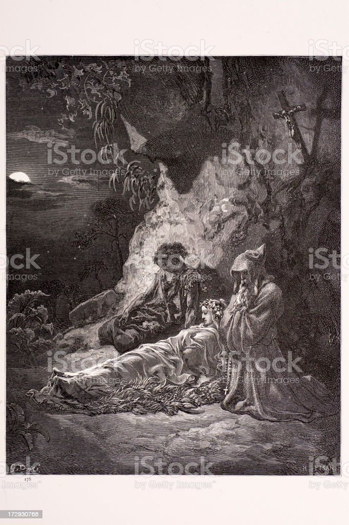 Mourning by Moonlight royalty-free stock vector art