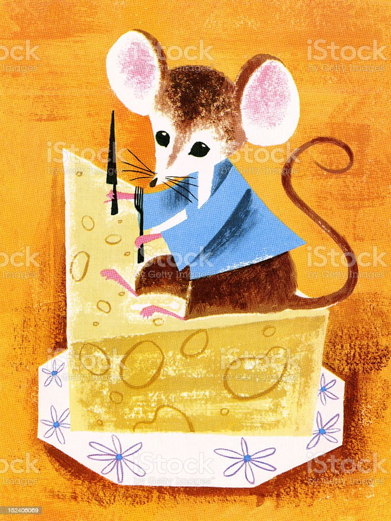 Mouse About to Eat Cheese royalty-free stock vector art
