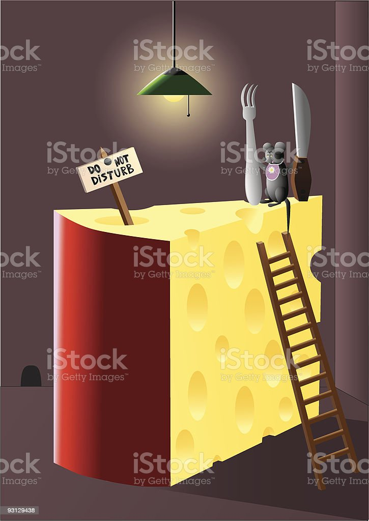mouse and cheese vector art illustration