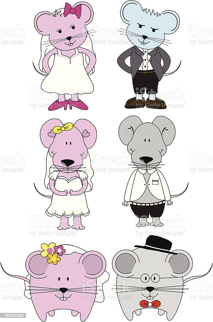 Mouse couples vector art illustration