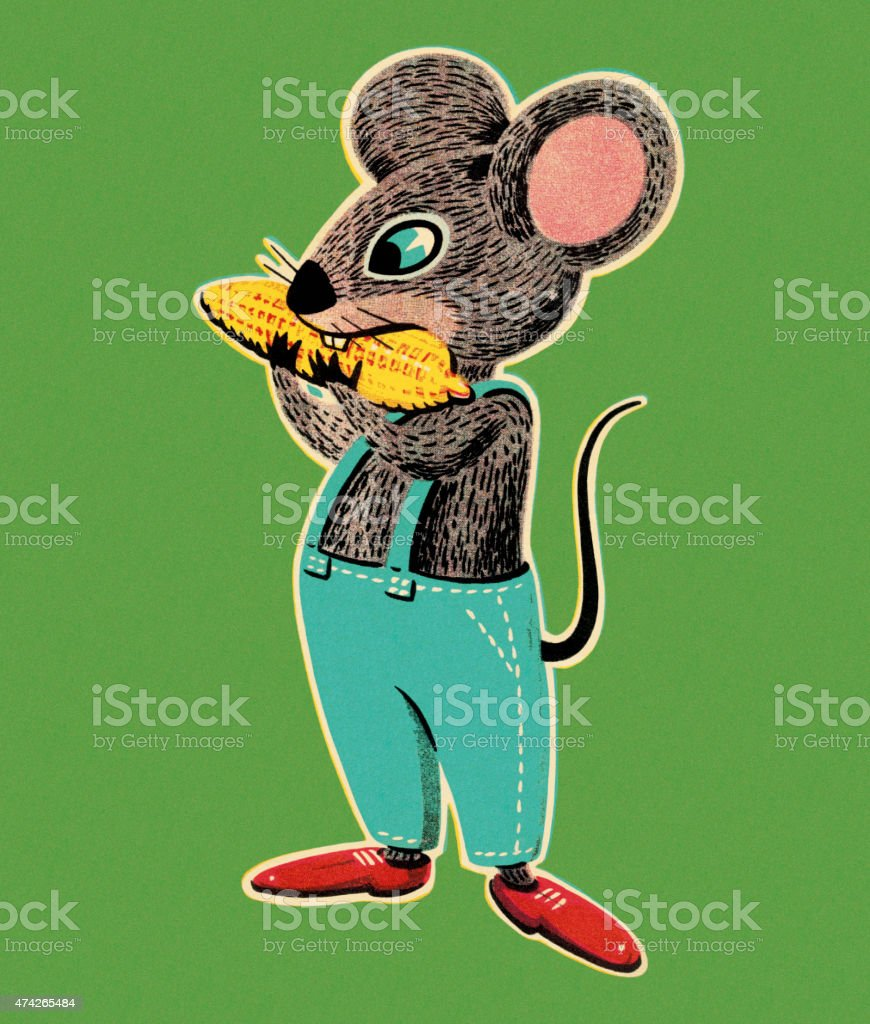 Mouse Eating Corn vector art illustration