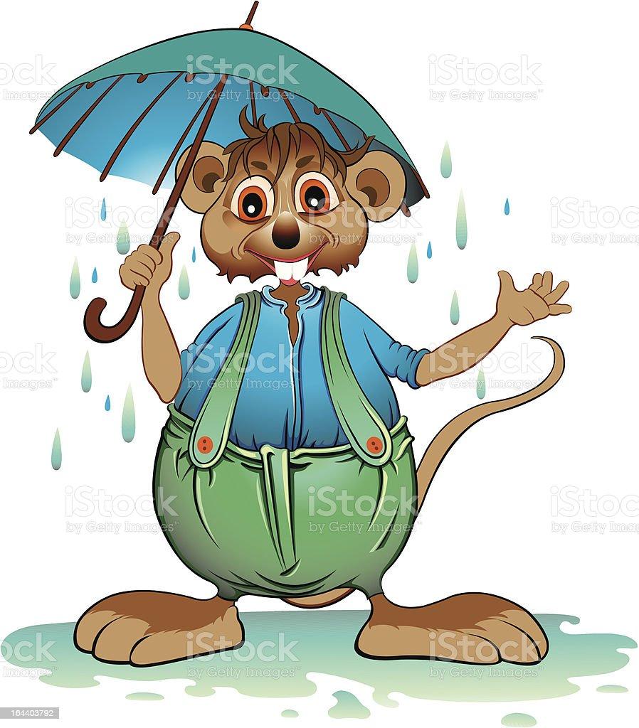 Mouse on rain vector art illustration