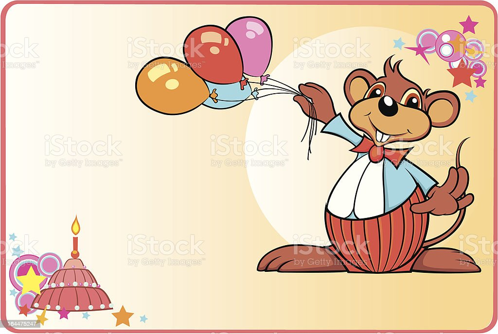 Mouse Postcard Vector Illustration vector art illustration