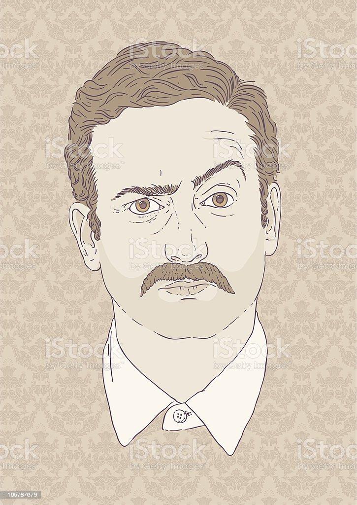 Moustachioed Man - Retro style vector art illustration