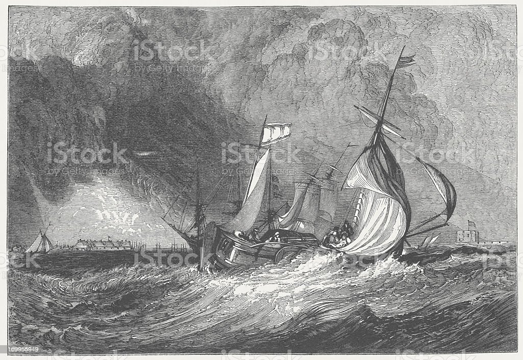 Mouth of the Humber (c.1825), by J.M.W. Turner, published 1882 royalty-free stock vector art