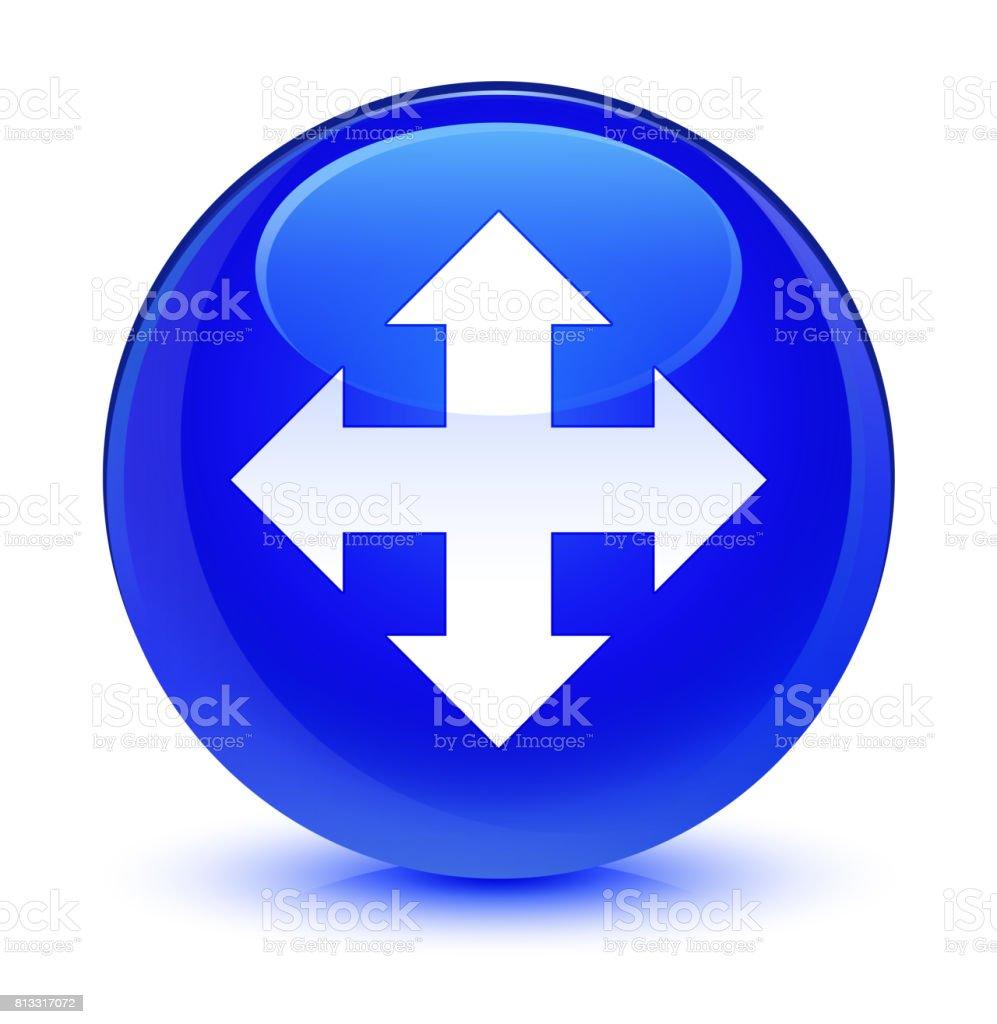 Move icon glassy blue round button vector art illustration