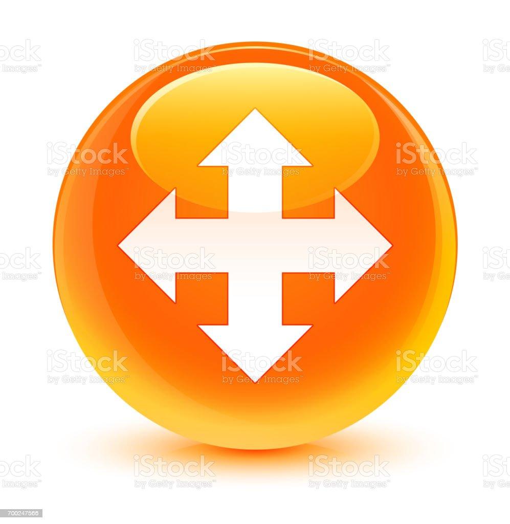 Move icon glassy orange round button vector art illustration