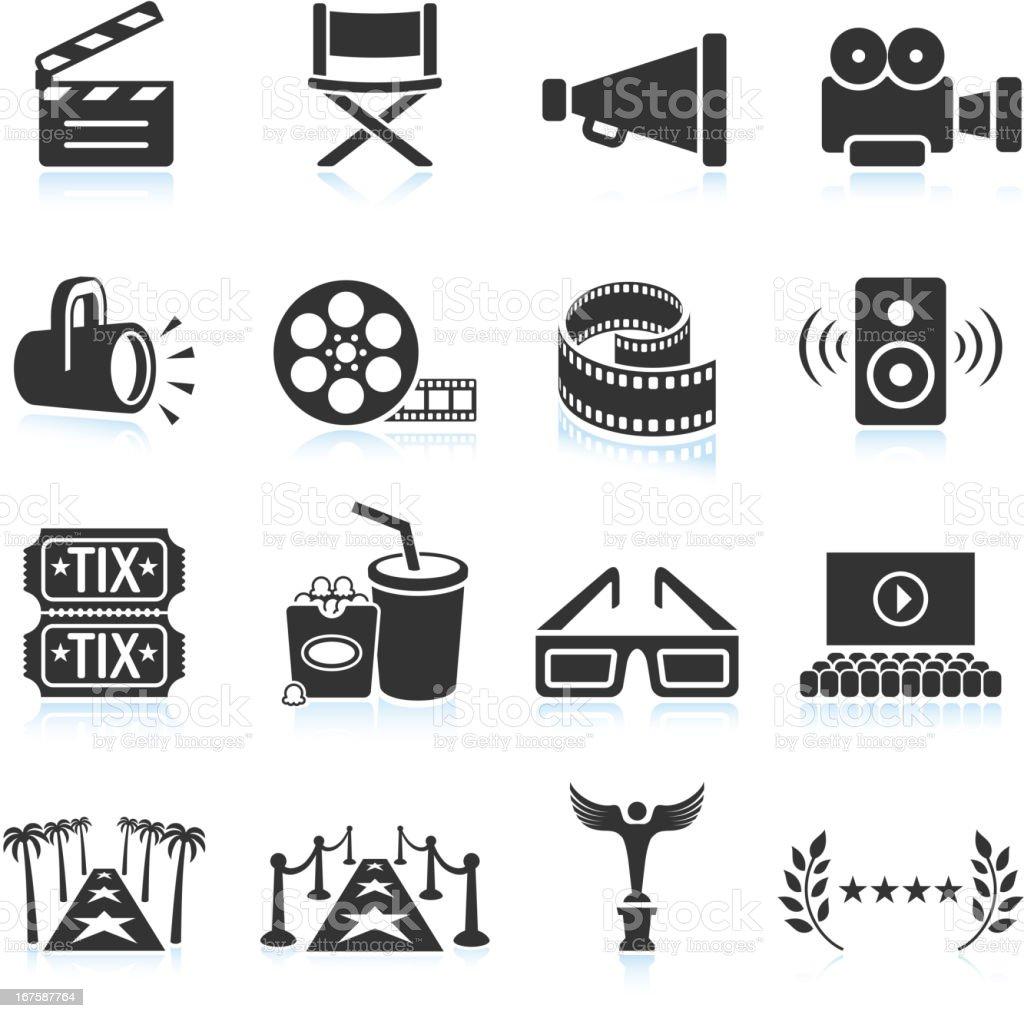Movie industry black & white royalty free vector icon set vector art illustration