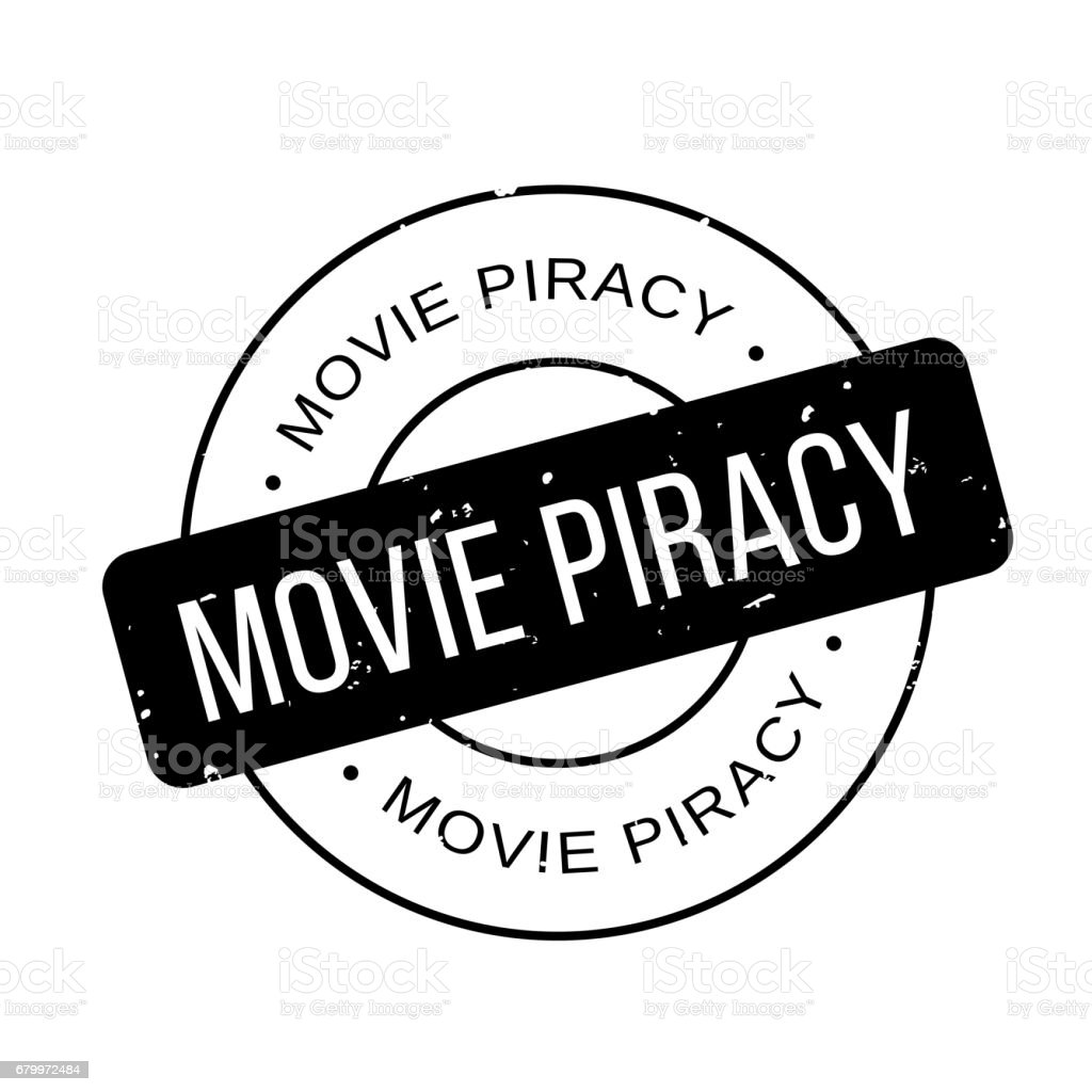 Movie Piracy rubber stamp vector art illustration