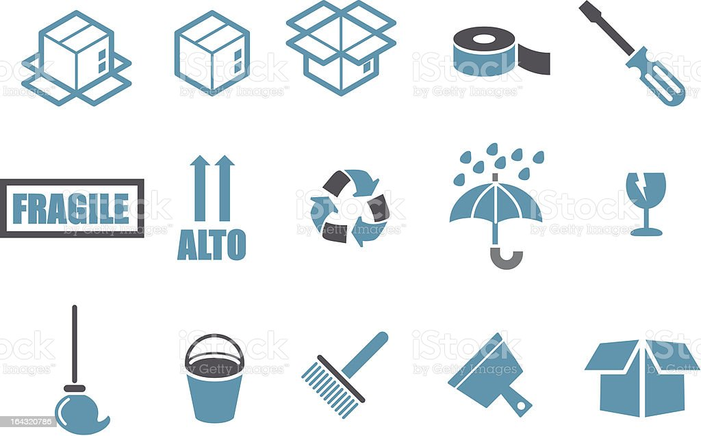Moving Icon Set royalty-free stock vector art