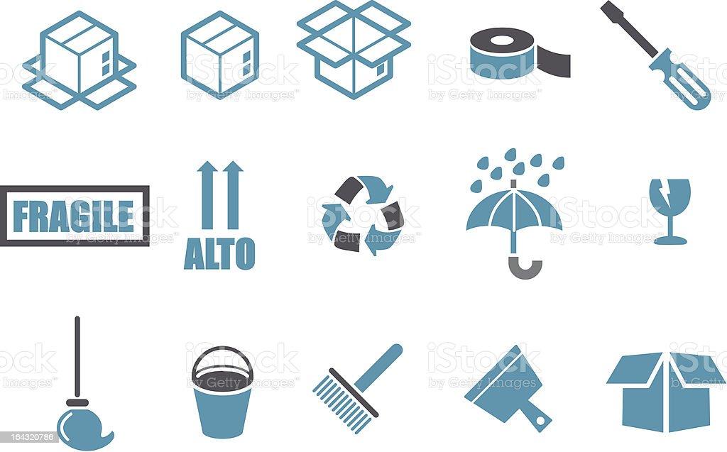 Moving Icon Set vector art illustration