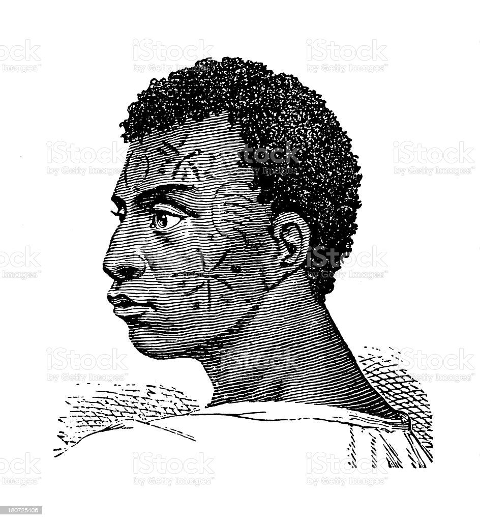 Mozambican man (antique wood engraving) royalty-free stock vector art