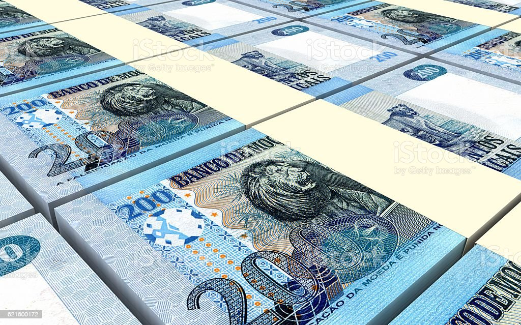 Mozambican meticais bills stacked background. vector art illustration