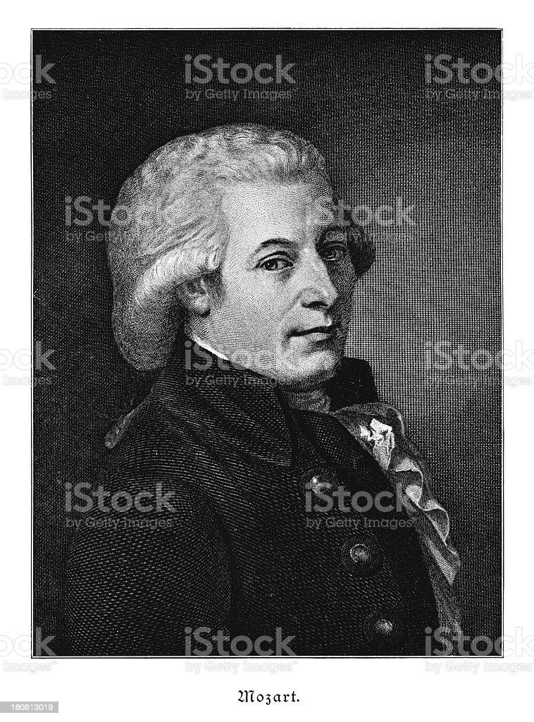 Mozart - Antique Portrait vector art illustration