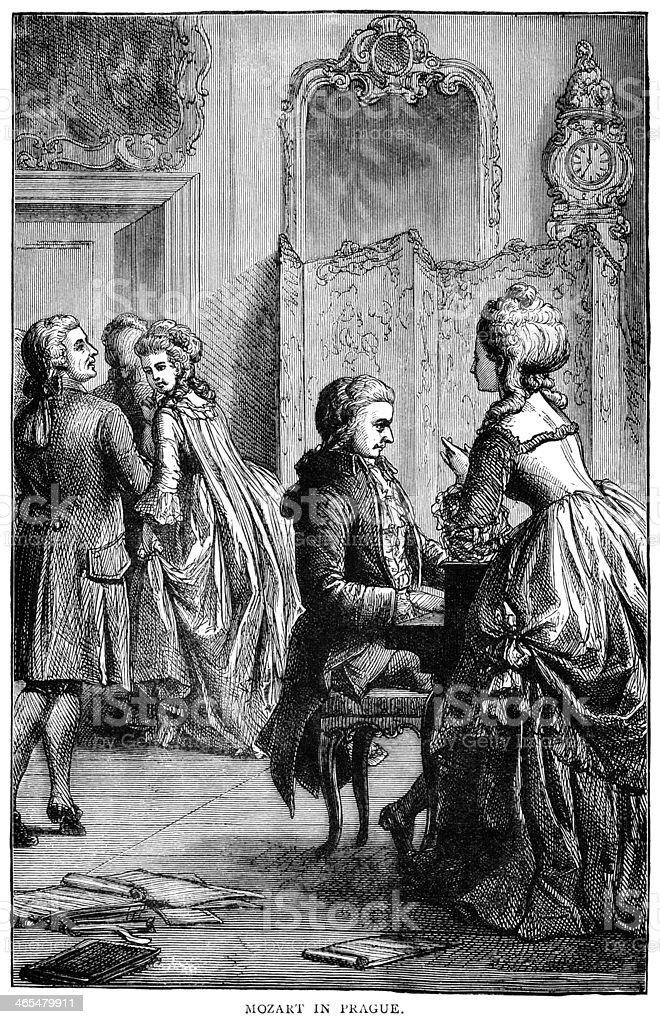 Mozart in Prague vector art illustration