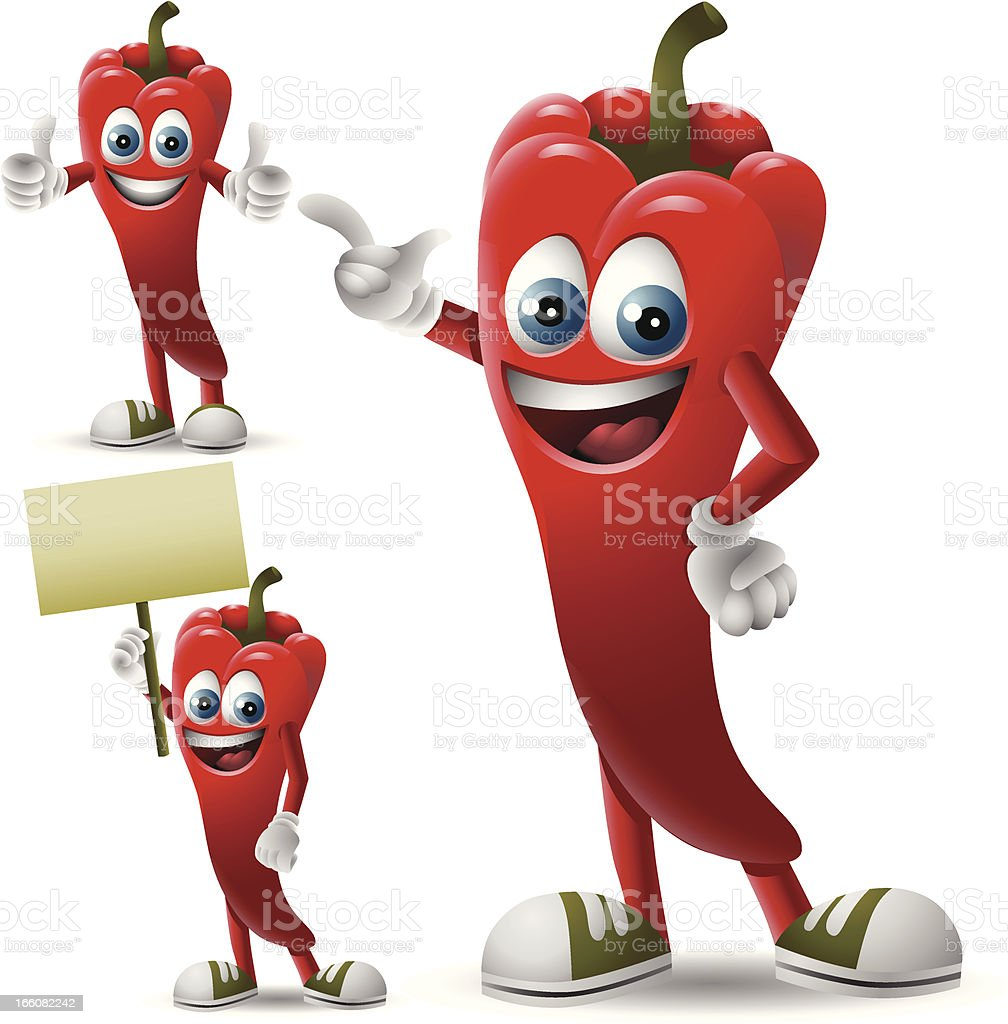 Mr. Chili Pepper: 3 in 1 royalty-free stock vector art