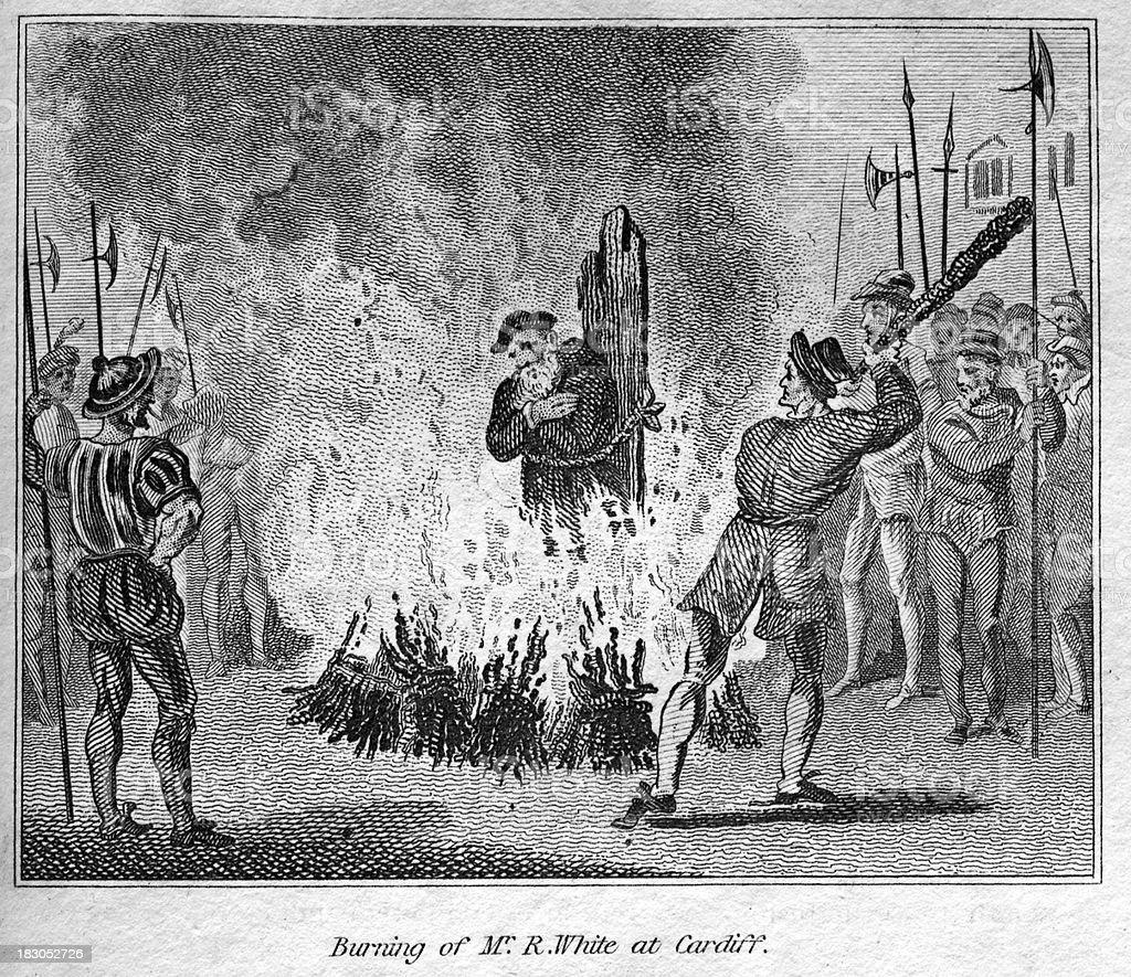 Mr R White burned at the stake vector art illustration